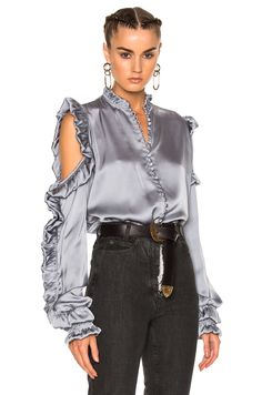 Shop for Magda Butrym Lecce Blouse in Gray at FWRD. Free 2 day shipping and returns. Classy Work Outfits, Magda Butrym, Frill Tops, Model Outfits, Kawaii Fashion, Street Wear, Women Wear, Stylish, Ruffle Top