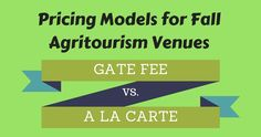 There are different ways we can charge for things we offer at our Agritourism venues from charging for each of the activities we offer, to a gate fee that includes everything, or somewhere in between.  Sometimes our property layout helps to dictate which option will work best.  Here is what we have found to be the pros and cons of each.    A La Carte We did this with our first venue.  Anyone could come and enjoy being on our farm and never actual spend any money if they chose not to part...