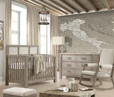 We love this beautiful and rustic nursery featuring Liz and Roo's Cloud Linens Bedding! This sophisticated baby bedding makes this room perfect for a baby boy or girl. The accessories and furniture complete this modern and travel-themed room!
