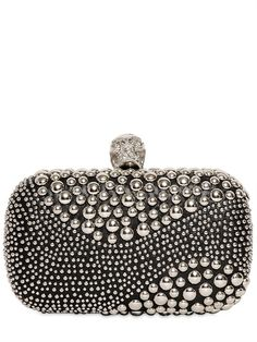 ALEXANDER MCQUEEN - STUDDED PATCHWORK SKULL BOX CLUTCH - LUISAVIAROMA - LUXURY SHOPPING WORLDWIDE SHIPPING - FLORENCE