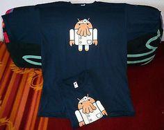 "TeeFury T-Shirt ""Droidberg"" (Zoidberg + Android), M, blau, Limitierte Auflage"
