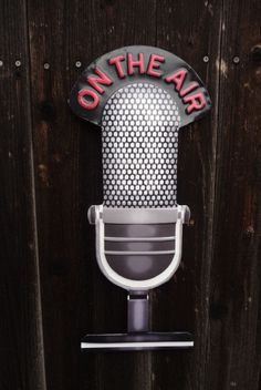 ON THE AIR MICROPHONE = Recording Studio RADIO STATION DJ Music = TIN METAL SIGN