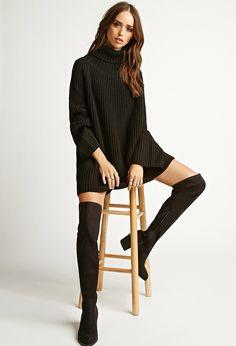 blusa/ vestido gola alta e bota cano alto