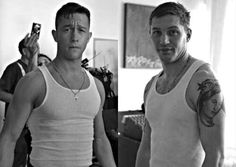 Joesph Gordon Levitt and Tom Hardy.... This is too much sexy for one picture!!