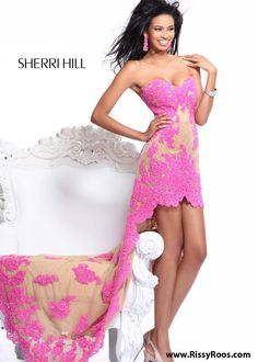 #RissyRoosHomecoming Stunning! Find Sherri Hill 21016 hot pink lace sweetheart hi lo dresses at RissyRoos.com. #RissyRoosHomecoming