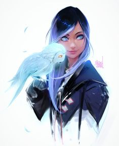 Female character art. Owl.