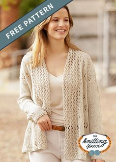 Complete your cool, relaxed look with this knitted long jacket with a shawl collar and lace patterns. Add this laid back piece to your wardrobe or craft one with gifting in mind. | Discover over 4,500 free knitting patterns at theknittingspace.com #knitpatternsfree  #summerknits #summerknittingproject #summerknittingpatterns #springknittingprojects #springknittingpatterns #homemadegift #giftideas Lace Patterns, Knitting Patterns Free, Free Knitting, Free Pattern, Summer Knitting Projects, Knit Cardigan Pattern, Knitted Poncho, Sweater Cardigan, Long Jackets