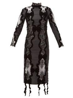 Erdem - Deletta Lace-insert Velvet And Sequin Fitted Dress - Womens - Black Deep V Dress, Lace Insert, Buy Dress, Nice Dresses, Bodycon Dress, Erdem Moralioglu, Dressy Pants, Romantic Evening, Black Body