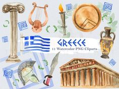 This is a listing of 'Greece' watercolor clipart set for personal and commercial use (see shop policies). The set includes 11 elements in png (no background) files at 300 dpi resolution: Spartan Shield, Greek Crafts, Greek Flag, Greek Art, Ancient Greece, Illustrations, Mythology, Original Paintings, Travel Europe