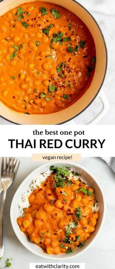 This vegan thai red chickpea curry is easy to make, healthy and made in just one pot! It's ready in 30 minutes, naturally gluten free and the best high protein vegan dinner. Made with coconut milk, tomatoes and curry paste, this thai coconut chickpea curry is loved by all types of eaters. #chickpeacurry #vegancurry #curry Thai Coconut Curry Recipe, Quick Curry Recipe, Coconut Curry Vegetarian, Vegan Chickpea Recipes, Red Curry Recipe, Chickpea Coconut Curry, Healthy Pasta Recipes, Vegan Dinner Recipes, Curry Recipes
