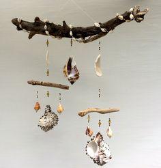 driftwood, driftwood mobile, sea shells, sea shell mobile, feng shui, mobile…