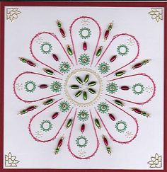 ED049 Christmas mandala  on Craftsuprint designed by Emy van Schaik - made by   - Stitching with beads. Use cardstock to make this card. The beads I used are rice or long grain beads (5 x 2mm) and glassbeads. You can use this mandala for any occasion, made this for a Christmascard. - Now available for download!