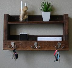 Rustic Entryway 3 Hanger Hook Coat Rack with Shelf  by KeoDecor, $75.00