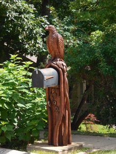 Carved eagle mailbox