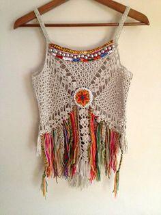 Handmade crochet boho top, decorate with vintage jewelry.