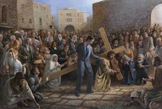 From the Artist: What is the meaning of this painting?This painting has over 100 figures, both good and bad, men and women that have left their footprint on Christianity. The man in the middle represe