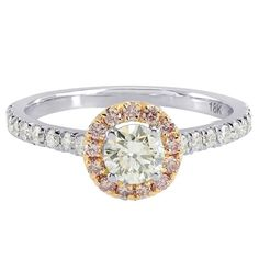 Round Brilliant White and Fancy Pink Diamond Gold Ring and Pendant Set | From a unique collection of vintage engagement rings at https://www.1stdibs.com/jewelry/rings/engagement-rings/