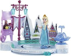 Recreate the magic of Disney's Frozen with Elsa and her Ice Skating Rink! Dressed in her winter ready ensemble, a blue gown with snowflake detailing, Elsa can actually ice skate! Elsa Frozen, Frozen Disney, Alice, Ice Rink, Skating Rink, Disney Toys, Princesas Disney, Toys For Girls, Skate