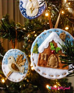 Pair of Nordic Hanging Fairy Angel Felt Christmas Tree Decorations Knitted Hat