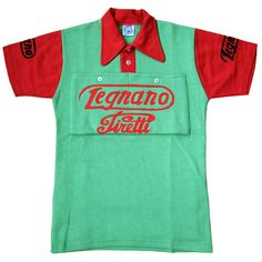 This iconic Legnano/Pirelli green and red retro wool jersey with collars and button pockets was made by Santini to star in a RAI film about Fausto Coppi. Cycling Art, Cycling Jerseys, Vintage Cycles, Bike Brands, Cycling Outfit, Jersey Shirt, Boys T Shirts, Mens Tops, Jersey Designs