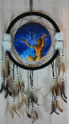 Native American Indian Dream Catchers | Dream Catcher Beautifully Depicting Spirit Wolves And Native American ...