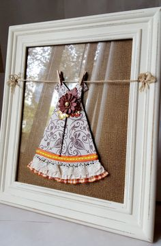 Origami Dress with lace, ribbons paper flowers and paper leaves at 2 Magpies $35. https://www.etsy.com/listing/252618391/the-aster-fall-framed-paper-origami