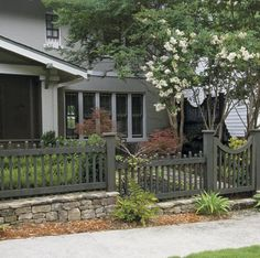 picket fence on stone wall (chose by client)