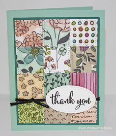 Great card idea for using up patterned paper scraps!