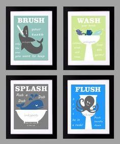 Childrens Bathroom Print Kids Bathroom Rules by inkspotsgallery