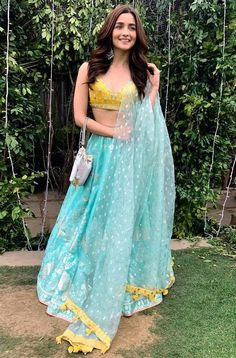 Wearing a blue bridal lehenga for your big day? These blue bridal lehengas will up your glamour quotient. The unique lehenga is in huge demand nowadays. Take cues from these designer lehenga. Indian Bridal Outfits, Indian Fashion Dresses, Dress Indian Style, Indian Designer Outfits, Designer Ethnic Wear, Indian Bridal Wear, Blue Bridal, Indian Wear, Bridal Style