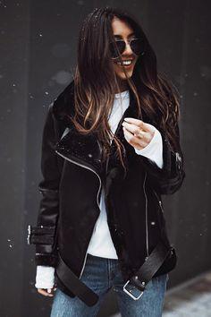 Black Faux Leather Oversized Moto Jacket