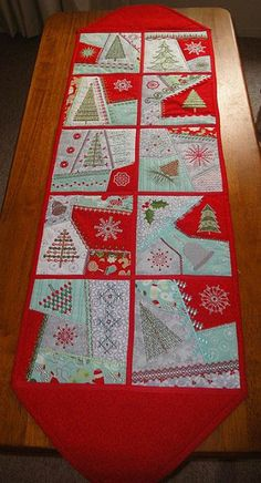 Crazy quilting table runner 53 ideas for 2019 Table Runner And Placemats, Quilted Table Runners, Colorful Quilts, Small Quilts, Crazy Patchwork, Crazy Quilting, Quilting Projects, Sewing Projects, Baby Quilts To Make