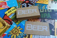 business cards from beer boxes