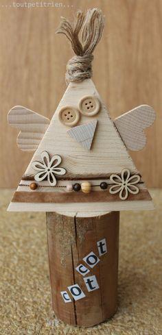Nous recyclons nos chutes de bois en poulette. www.pinterest.com/fleurysylvie et www.toutpetitrien.ch  #bricolage #paques #enfant