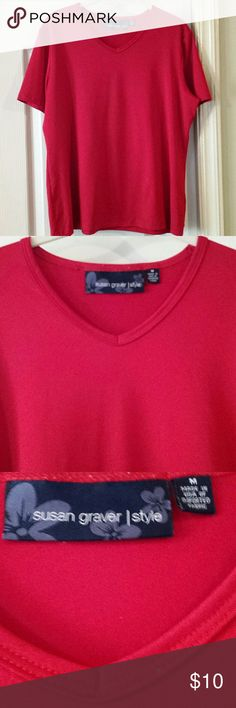 Susan Graver Style Red V Neck Blouse. Plus Medium. Red v neck blouse by Susan Graver in size Plus Medium. (14/16). No holes or stains. In very good used condition. Susan Graver Tops