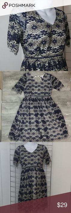 e85a08cb981d1 Motherhood S gauzy lace overlay dress Eggshell lining with lace overlay of  navy blue and nude