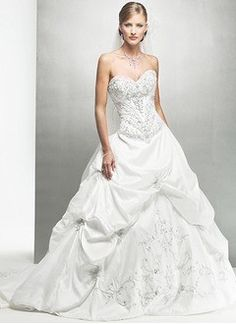 Ball-Gown Strapless Sweetheart Chapel Train Taffeta Wedding Dress With Embroidered Ruffle Beading