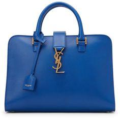 Saint Laurent Royal Blue Cabas Monogram Small Bag ($1,730) ❤ liked on Polyvore…