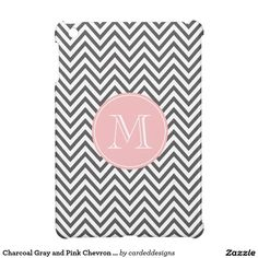 Charcoal Gray and Pink Chevron Custom Monogram iPad Mini Cover