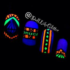 Added By Casey Danton. Glow in the dark tribal nails using Polish Me To Go's glowing nail polish!  Super fun look for going out when you know you'll be in darkness or near a blacklight. @bloomdotcom