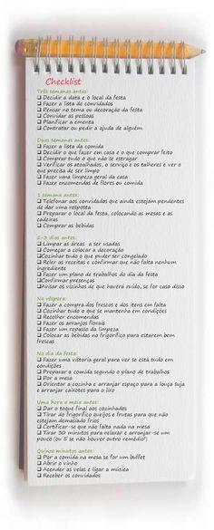 Mesa Criativa: Checklist... para uma festa em casa