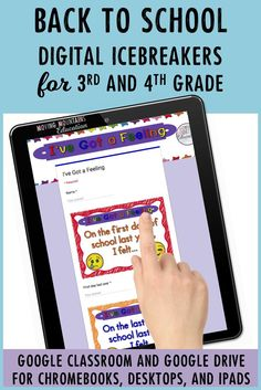 Have some back to school fun with these ideas! Get to know you activities, meet the teacher, find a friend and more ice breaker activities! These ideas are no prep digital resources for your digital classroom that will make the first day of school easy and fun. Activities and ideas for both 3rd grade and 4th grade classrooms! #3rdgrade #4thgrade #googleintheclassroom #backtoschoolactivities #firstdayofschool #gettoknowyouactivities First Week Of School Ideas, Back To School Teacher, Meet The Teacher, Beginning Of School, School Fun, School Stuff, First Week Activities, Get To Know You Activities, About Me Activities