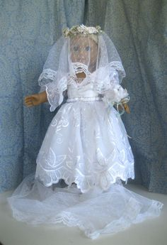 Recycled Bride Fits American Girl 18 inch dolls Victorian Style Bridal Gown Shoes Pantaloons Veil