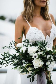 Tropical Bali Wedding ceremony for These Greatest Mates Turned Soul Mates , Tropical Bali Wedding ceremony for These Greatest Mates Turned Soul Mates Bali Wedding ceremony with a Jaw-Dropping Pampas Grass Arbor , # White Wedding Bouquets, Bride Bouquets, Floral Wedding, Wedding Colors, Wedding Dresses, Green And White Wedding Flowers, Greenery Bouquets, Ivory Wedding, White Roses Bouquet Wedding
