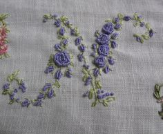 Vintage Ladies Handkerchief Hand Embroidery Monogram Letter N. $48,00, via Etsy.
