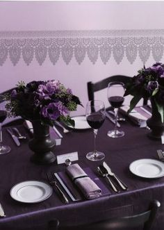 Wedding Flowers | Brooklyn Bride - Modern Wedding Blog - Part 10 & Purple Table Settings For Weddings | Purple Table Settings ...