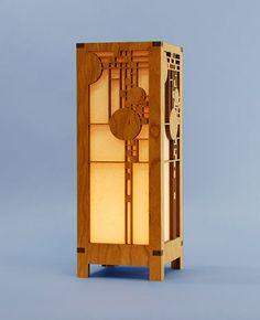 Decorative Frank Lloyd Wright Designed Laser Cut Wood Accent Lamp