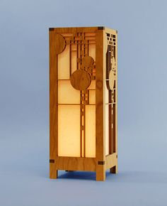 Decorative Frank Lloyd Wright Designed Laser Cut Wood Accent Lamp