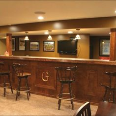 Basement Bar Idea For New House! LiketLikethe Letter In Front Of Bar, Posts  And