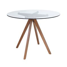 Compass clear glass dining table with walnut coated legs – Hazir Site 4 Seater Dining Table, Glass Round Dining Table, Modern Dining Table, Best Dining, Extendable Dining Table, Dining Room Table, Glass Tables, Kitchen Dining, Cottage Dining Rooms